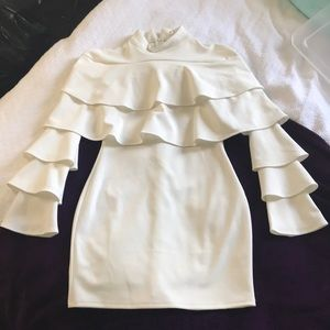 White Ruffle Bodycon Dress